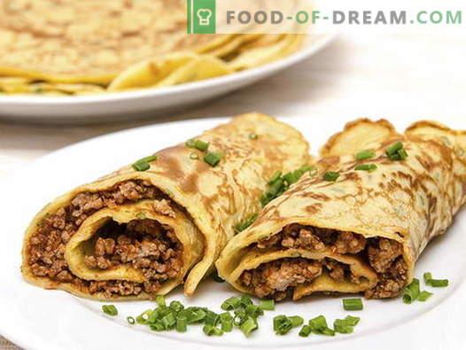 Pannenkoeken met vlees - de beste recepten. Hoe goed en smakelijk pannenkoeken met vlees koken.