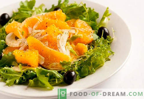 Salade met sinaasappels - bewezen recepten. Hoe een salade met sinaasappels te koken.