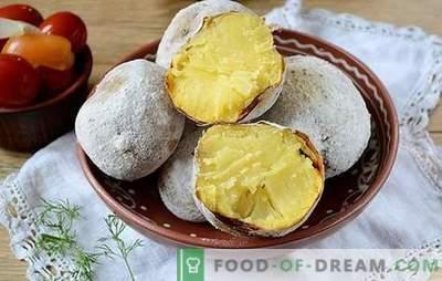 Aardappelen in de oven als een kampvuur: een stapsgewijs foto-recept. Als je aardappelen uit het vuur wilt halen, maar het weer heeft geen picknick - er is een oplossing!