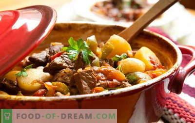 Recept voor gebraden vlees en aardappelen voor echte fijnproevers! Gebraden vlees en aardappelen: in potten, in een pan, in een slowcooker