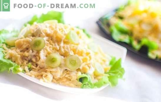 Salade met kipfilet en kaas versieren elk feest! Feestelijke nieuwe recepten voor salades met kipfilet en kaas