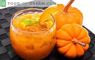 Pumpkin jam with orange is een handige delicatesse. Opties jam pompoen met sinaasappel en citroen, gedroogde abrikozen, duindoorn, noten