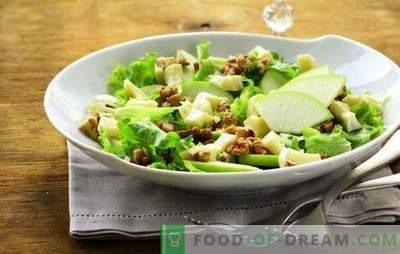 Salade met appel en kaas - met liefde uit Frankrijk! Recepten voor salades met appels en kaas, wortels, kip, krabstokken