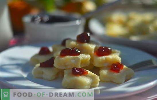 Luie knoedels: stap voor stap recepten. Hoe heerlijke luie dumplings koken met cottage cheese, aardappelen, banaan, chocolade