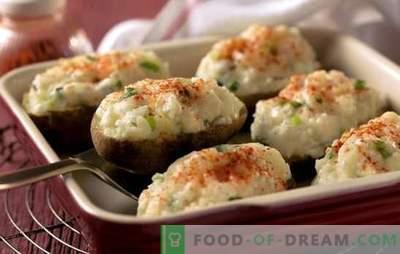 Recepten gevulde aardappelen in de oven. Hoe en waarmee je gevulde aardappelen in de oven kunt koken