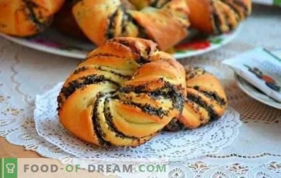 Muffins met maanzaad van gistdeeg - zelfgemaakt bakken, dat door iedereen wordt verkregen! De subtiliteiten van gistbroodjes met poppy