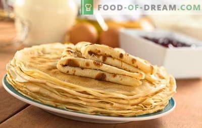 Pannenkoeken op gekookt water Kefir zijn een favoriete delicatesse in de nieuwe versie. Recepten opengewerkte pannenkoeken voor yoghurt met kokend water