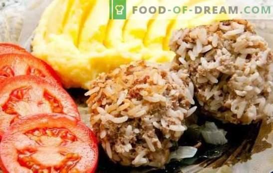 Egels van gehakt met rijst in de oven - mals vleesballetjes! Opties voor egels van verschillende gehakt vlees met rijst in de oven en sauzen voor hen