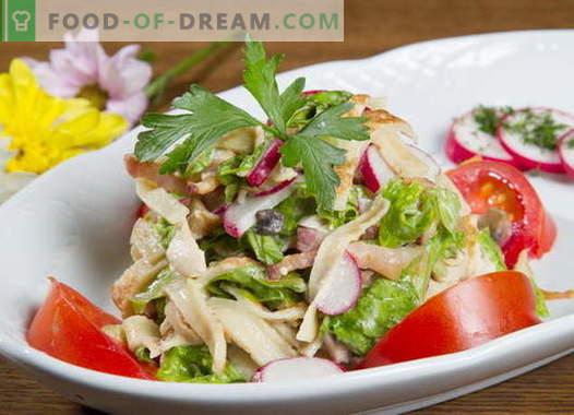 Pannenkoeksalade - een selectie van de beste recepten. Hoe goed en smakelijk pannenkoek salade koken.