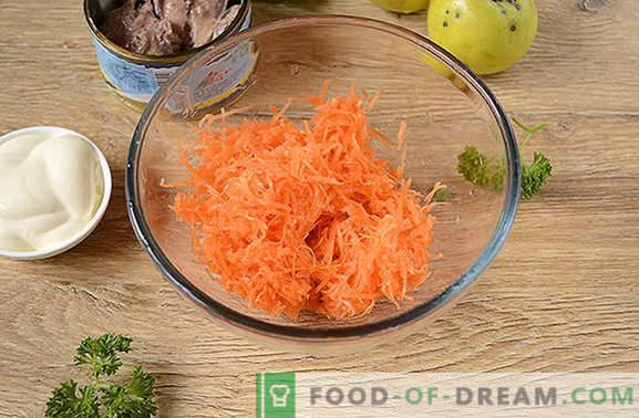 Ingeblikt visgerecht met groenten en appel: snelle snack. Stapsgewijs fotorecept van de oorspronkelijke salade met ingeblikte vis