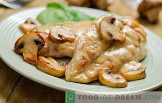 Borst met paddenstoelen: een klassieke combinatie. Kipfiletrecepten met champignons en ... zure room, ananas, kaas, deeg