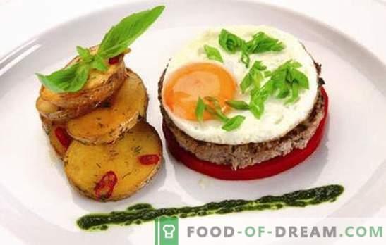 Beefsteak ar olu: 2 in 1! Dažādu steiku receptes ar olām no liellopu gaļas, cūkgaļas, vistas, rīsiem, bietes, franču valodā