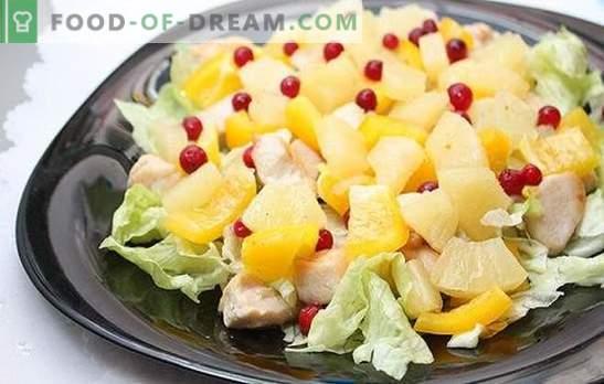 Salade met ananas en ham: voor een vakantie met een vleugje exotisch. Recepten harmonieuze combinaties in een salade met ananas en ham