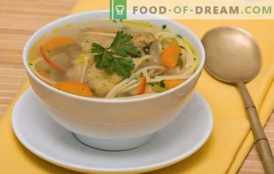 Kipnoedelsoep - lichte, smakelijke, stevige lunch. Recepten van kippensoep met noedels: met groenten, champignons, kaas