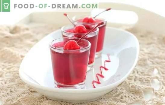 Cherry jelly: recepten voor snelle desserts, blanks voor de winter. Technologie voor het maken van kersengelei met verdikkingsmiddelen en zonder gelatine
