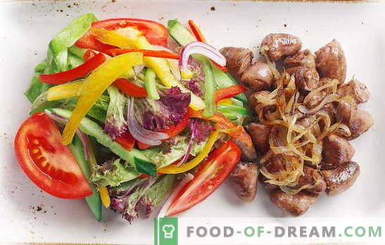 Kippenharten met uien - dagelijkse delicatesse! Recepten gebakken, gestoofde, gebakken harten met uien, wortels