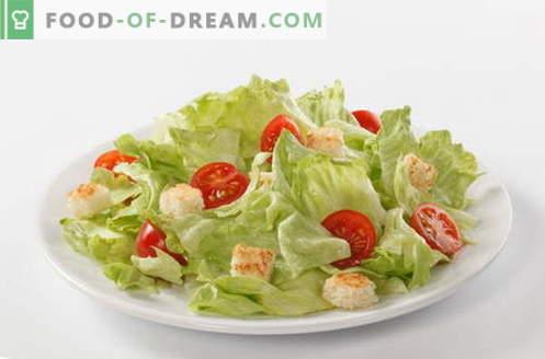 Caesarsalade - de juiste recepten en ingrediënten. Hoe saus (dressing) te koken voor de salade