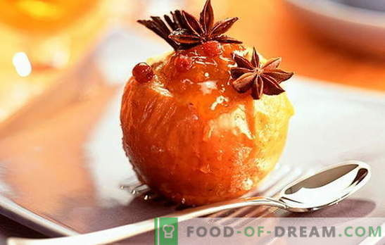 Gebakken appels in de oven - een heerlijke nostalgie. Recepten van gebakken appels in de oven: met honing, kwark, noten, rijst, gember