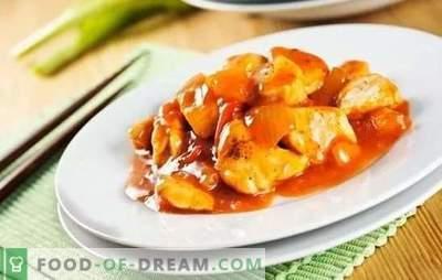 Kip in Chinese saus - eenvoudig en oosterse. Thuis exotische kipgerechten in Chinese saus