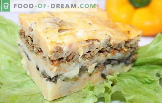 Braadpan met gehakt en aardappelen - bespaar tijd! Recepten van stoofschotels met gehakt en aardappelen, evenals champignons, kaas, groenten