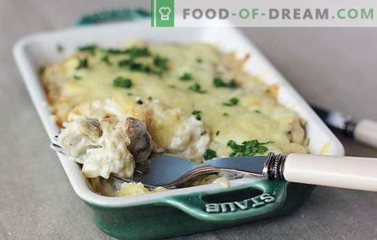 Gebakken, gebakken of gestoofde aardappelen met paddestoelen in zure room: niemand is onverschillig! Simpele recepten van aardappelen met champignons in zure room