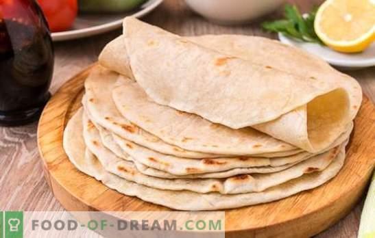 Tarwetortilla: een eenvoudig en voedzaam gerecht voor het hele gezin. De beste recepten van smakelijke tarwetortilla uit de beschikbare producten