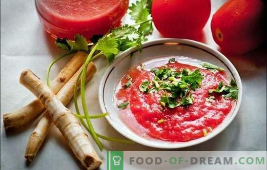 Mierikswortel met tomaten en knoflook - heerlijke onzin! Hoe mierikswortelkruiden met tomaten en knoflook op verschillende manieren te bereiden