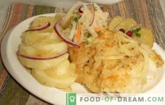 Bacalao con cebollas: preparamos pescado sano y sabroso en el horno. Recetas de bacalao con cebollas y zanahorias, verduras, queso, etc.