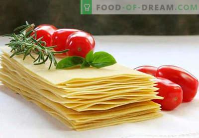 Lasagne-deeg - de juiste recepten. Hoe snel en lekker het deeg koken voor lasagne.