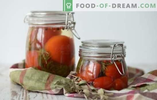 Marinade voor tomaten - het hoofdpersonage van de tomatenblanco! Recepten voor heerlijke marinades voor tomaten: met azijn, aspirine, wodka