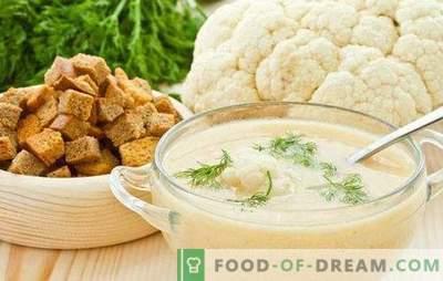 Bloemkoolpuree soep: dieet en zacht. De beste recepten voor bloemkoolpuree soep met kaas, vlees, vis