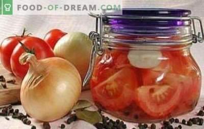 Tomaten met plakjes voor de winter: recepten getest door de jaren heen. Wij oogsten de tomaten met plakjes voor de winter: heerlijk of warm