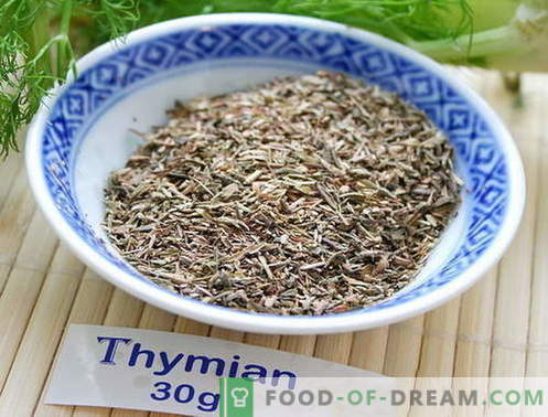 Tijm - beschrijving, eigenschappen, gebruik in de keuken. Recepten gerechten met tijm.