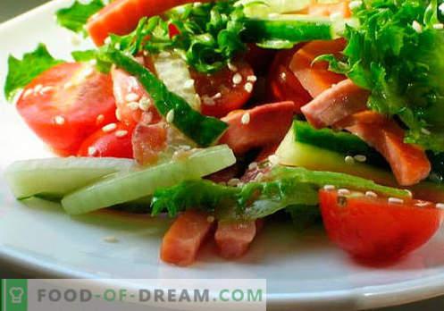 Salades met plantaardige olie - de vijf beste recepten. Hoe goed en lekker salades bereiden met plantaardige olie.