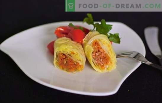 Plantaardige gevulde kool is een magere versie van een favoriet gerecht. Recepten en geheimen koken groente koolbroodjes met pompoen, raap, champignons, gegrild