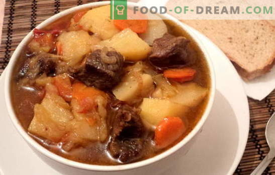 Stoofpot met aardappelen en vlees is bevredigend en gezond. Verschillende recepten voor het koken van stoofschotels met aardappelen en vlees: eenvoudig en complex