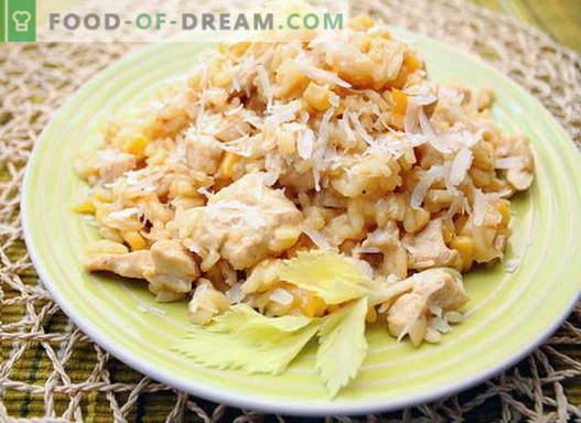 Kiprisotto - de beste recepten. Hoe goed en smakelijk risotto koken met kip.