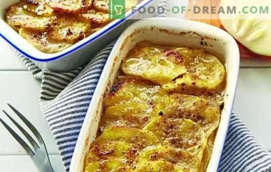 Gehakt vlees in de oven met aardappelen (stap voor stap recept): veel opties. Vulling in de oven met aardappelen (stap voor stap): in de vorm en potten