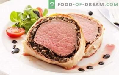 Varkensvlees in deeg - geurig vlees om te garneren of te versnijden. Recepten van varkensvlees in het deeg in de oven en in de pan: met champignons, abrikozen, veenbessen