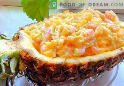 Krabsalade met ananas - de beste recepten. Hoe goed en smakelijk koken krab salade met ananas.