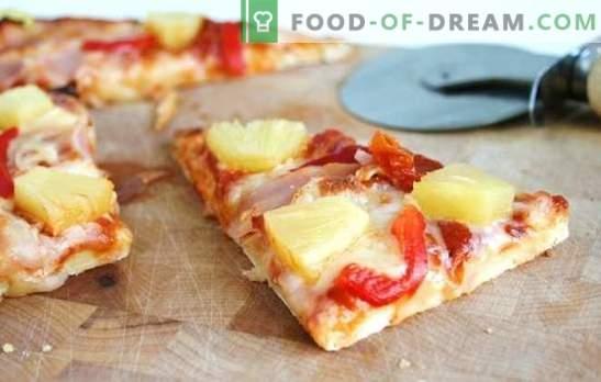 Pineapple Pizza - Italiaanse pastei met exotische smaak! Verschillende pizza's koken met ananas: zout, pittig, zoet