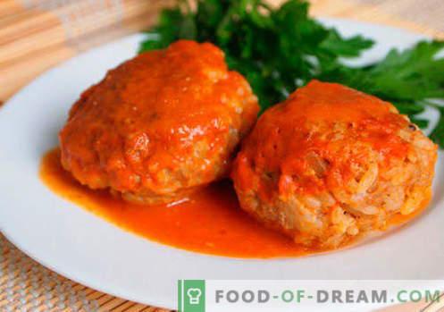 Gehaktballen met rijst - bewezen recepten. Hoe goed en smakelijk gekookte gehaktballen met rijst.