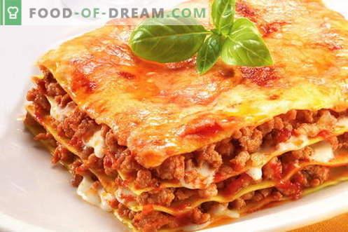 lasagne - de beste recepten. Hoe goed en smakelijk gekookte lasagne.