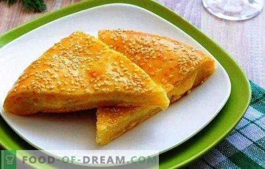 Kaas tortilla's op kefir zijn een multinationaal product. Varianten van cake met kaas op kefir: met pompoen, ui