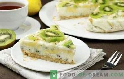 Cake met kiwi en banaan - zoet, geurig en vers! Recepten voor cottage cheese, biscuit, yoghurt, luie kiwi en bananencake