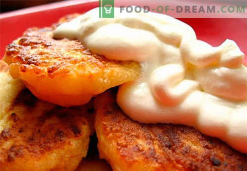 Cheesecakes zonder bloem - de beste recepten. Hoe snel en smakelijk kaaswafels koken zonder bloem.