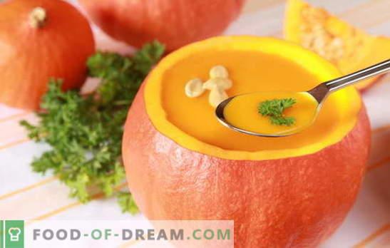 Heldere en delicate pompoenroomsoep: recepten en kooktrucs. De originele presentatie en recept van nuttige pompoenroom-soepen
