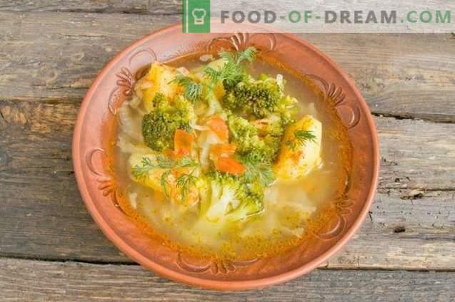 Heerlijke magere soep met aardappelen en broccoli