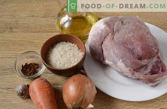 Varkenspilaf: niet koosjer, niet diëtair, maar ongelooflijk lekker! Stapsgewijs fotorecept van geurige pilaf met varkensvlees