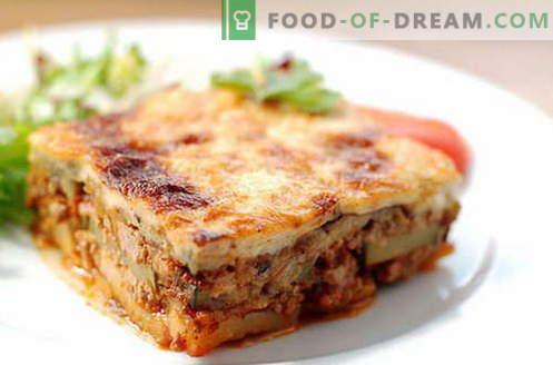 Mousaka met aubergines - de beste recepten. Hoe goed en smakelijk de aubergine moussaka koken.